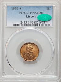 1909-S 1C MS64 Red and Brown PCGS. CAC. PCGS Population: (708/345). NGC Census: (286/165). CDN: $400 Whsle. Bid for NGC/...