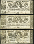 Little Rock, AR- Arkansas Treasury Warrant $10 1862, Three Examples Very Fine-Extremely Fine or Better. ... (Total: 3 no...
