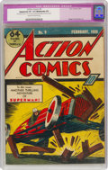 Golden Age (1938-1955):Superhero, Action Comics #9 (DC, 1939) CGC Apparent VF 8.0 Moderate (P) Cream to off-white pages....