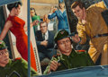 Photographs, Mort Künstler (American, b. 1931). The Spy in the Red Kimono, For Men Only cover, April 1966. Gouache on board. 11-3/4 x...