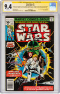 Bronze Age (1970-1979):Superhero, Star Wars #1 Signature Series - Signed by Cast Members and Artists (Marvel, 1977) CGC NM 9.4 White pages....