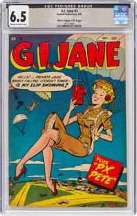 "G. I. Jane #3 Davis Crippen (""D"" Copy) Pedigree (Stanhall, 1953) CGC FN+ 6.5 Cream to off-white pages"