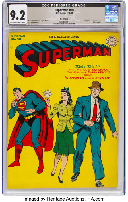 Superman #30 Rockford Pedigree (DC, 1944) CGC NM- 9.2 Off-white to white pages....
