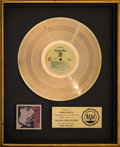 Music Memorabilia:Awards, The Rolling Stones Love You Live RIAA Gold Sales Award Presented to Charlie Watts (Rolling Stones Records). ...