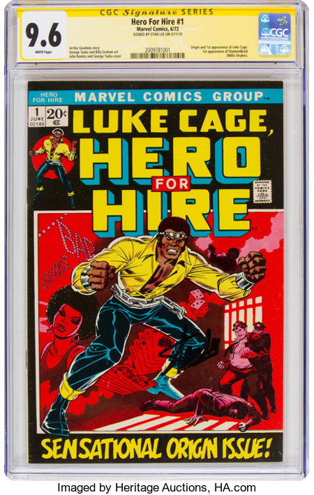 Hero for Hire #1 Signature Series - Signed by Stan Lee (Marvel, 1972) CGC NM+ 9.6 White pages....