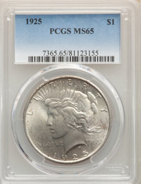 (5)1925 $1 MS65 PCGS. PCGS Population: (8539/2223). NGC Census: (11367/1940). CDN: $80 Whsle. Bid for NGC/PCGS MS65. Min...