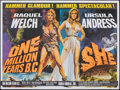 """Movie Posters:Fantasy, One Million Years B.C./She Combo (Warner Pathe, R-1968). Rolled, Very Fine-. British Quad (30"""" X 40""""). Tom Chantrell Artwork..."""