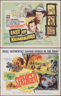 "Movie Posters:Documentary, Serengeti & Other Lot (Allied Artists, 1960). Rolled, Fine/Very Fine. Half Sheets (4) (22"" X 28""). Documentary.. ....."