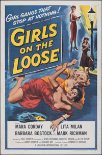 "Girls on the Loose (Universal International, 1958). Folded, Fine+. One Sheet (27"" X 41""). Bad Girl"