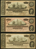 Confederate Notes:1864 Issues, T67 $20 1864 Three Examples Very Fine; About Uncirculated; Crisp Uncirculated.. ... (Total: 3 notes)