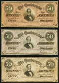 Confederate Notes:1864 Issues, T66 $50 1864 Three Examples Very Fine.. ... (Total: 3 notes)