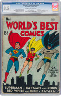 Golden Age (1938-1955):Superhero, World's Best Comics #1 (DC, 1941) CGC VG- 3.5 Cream to off-white pages....