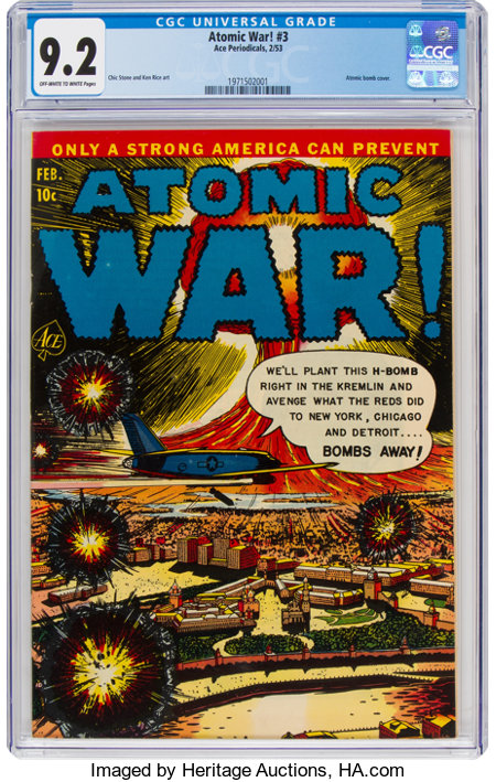 Atomic War! #3 (Ace, 1953) CGC NM- 9.2 Off-white to white pages....