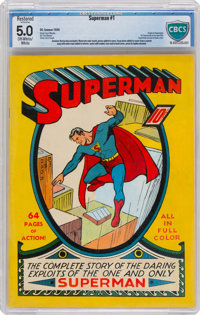 Superman #1 (DC, 1939) CBCS Restored VG/FN 5.0 Extensive Amateur Off-white to white pages