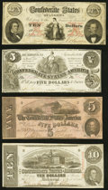 T26 $10 1861 Fine-Very Fine; T36 $5 1861 Fine-Very Fine; T53 $5 1862 Fine; T59 $10 1863 Very Fine. ... (Total: 4 notes)