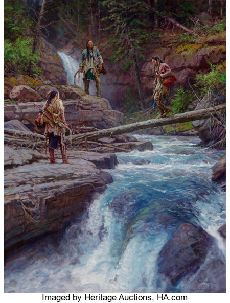 Martin Grelle (American, b. 1954) Where Waters Run Cold, 2012 Oil on linen 42 x 32 inches (106.7 x 81.3 cm) Signed a...