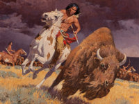 David Mann (American, b. 1948) The Horse Made Him Master Oil on canvas 36 x 48 inches (91.4 x 121.9 cm) Signed lower