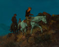 Paintings, George Phippen (American, 1915-1966). Moonlit Ride, 1958 . Oil on canvas laid on board. 24 x 30 inches (61.0 x 76.2 cm)...