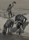 Paintings, Frederic Remington (American, 1861-1909). Water!, circa 1890. Oil on canvas. 29-1/2 x 21-1/2 inches (74.9 x 54.6 cm). Si...