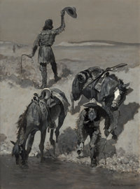 Frederic Remington (American, 1861-1909) Water!, circa 1890 Oil on canvas 29-1/2 x 21-1/2 inches