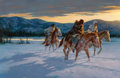 Howard A. Terpning (American, b. 1927) Against the Cold Maker, 1992 Oil on canvas 30 x 46 inches