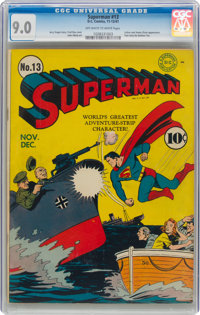 Superman #13 (DC, 1941) CGC VF/NM 9.0 Off-white to white pages