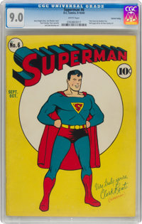 Superman #6 Central Valley pedigree (DC, 1940) CGC VF/NM 9.0 White pages