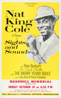 """Music Memorabilia:Posters, Nat King Cole 1963 Hartford, CT """"Sights and Sounds"""" Concert Poster...."""