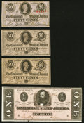 Confederate Notes:1863 Issues, T63 50 Cents 1863 Crisp Uncirculated;. T71 $1 1864 About Uncirculated;. Low Serial Numbers 249 and 250 T72 50 Cents Cr... (Total: 4 notes)