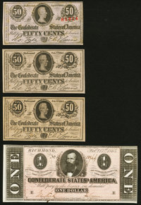 T63 50 Cents 1863 Crisp Uncirculated; T71 $1 1864 About Uncirculated; Low Serial Numbers 249 and 250 T72 50 Cents Cr...
