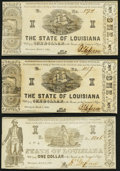 Shreveport, LA- State of Louisiana $1 Mar. 1, 1864, Three Examples About Uncirculated or Better. ... (Total: 3 notes)