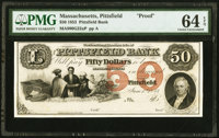 Pittsfield, MA- Pittsfield Bank $50 June 1, 1853 as G6c Proof PMG Choice Uncirculated 64 EPQ