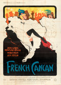 """Movie Posters:Musical, French Cancan (Gaumont, 1955). Folded, Very Fine-. French Four Panel (88"""" X 123.25""""). Rene Gruau Artwork. . ..."""