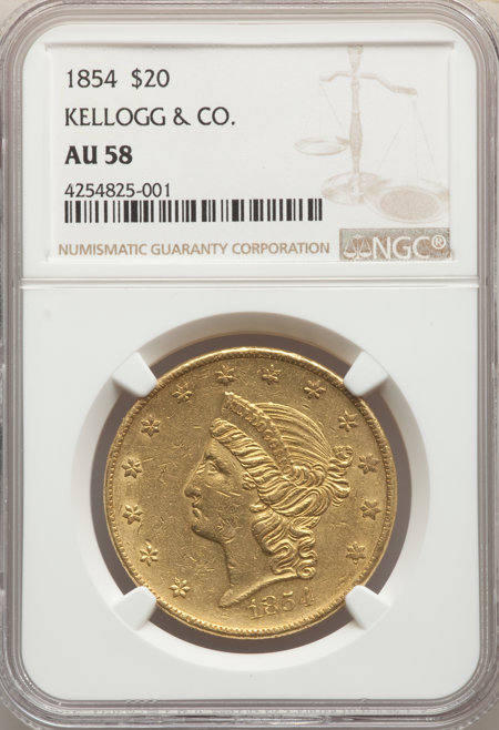 1854 $20 Kellogg & Co., MS 58 NGC