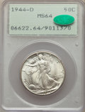 Walking Liberty Half Dollars: , 1944-D 50C MS64 PCGS. CAC. PCGS Population: (3098/6757). NGC Census: (1635/4134). CDN: $63 Whsle. Bid for NGC/PCGS MS64. Mi...