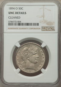 1894-O 50C -- Cleaned -- NGC Details. Unc. Mintage 2,138,000. ...(PCGS# 6469)