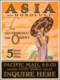 """Movie Posters:Miscellaneous, Asia via Honolulu (Pacific Mail Company, c. 1923). Very Good on Linen. Travel Poster (21.25"""" X 28""""). Miscellaneous.. ..."""