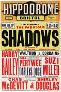 Music Memorabilia:Posters, Shadows Hippodrome Bristol Showcard (1962). Fans of early Britishpop music will enjoy this showcard, advertising an August ...