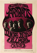 Music Memorabilia:Posters, Yardbirds/Country Joe and the Fish Fillmore Auditorium ConcertPoster, BG-33 (Bill Graham, 1966). This black-and-purple-on-w...