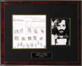 Movie/TV Memorabilia:Documents, Charles Manson Booking Card. The undeniable fascination with thesavagely tragic Manson murders is a reality in the history ...
