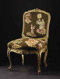 Furniture, A French Louis XV Style Painted Wood Side Chair. Unknown maker, French. Nineteenth century. Painted and gilded wood, uphol...