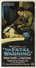 "Movie Posters:Mystery, The Fatal Warning (Mascot, 1929). Three Sheet (41"" X 81""). Episode 6 -- ""Into Thin Air."" Boris Karloff's character is a red ..."