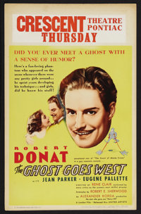 "The Ghost Goes West (United Artists, 1935). Window Card (14"" X 22""). Comedy. Starring Robert Donat, Jean Parke..."