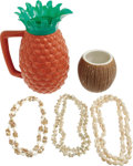 "Movie/TV Memorabilia:Props, ""Gilligan's Island"" Prop Lot. Includes a plastic pineapple-shapedpitcher, a ceramic coconut-shaped tumbler, and three seash..."