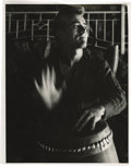 "Movie/TV Memorabilia:Photos, Photo of James Dean Playing Bongos by Sanford Roth. Stunningb&w 11"" x 14"" photo of Dean playing bongo drums -- one of hisf..."