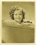 "Movie/TV Memorabilia:Photos, Shirley Temple Signed Photograph. This b&w 8"" x 10"" photo ofchild star Shirley Temple is signed by the actress and in great..."