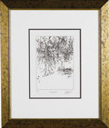 "Music Memorabilia:Original Art, Jerry Garcia ""Marshlands"" Drawing. A limited edition 6"" x 8""lithograph print of a drawing titled ""Marshlands"" by the late G..."