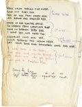 Music Memorabilia:Autographs and Signed Items, Ron Wood Handwritten Song Lyrics. A sheet of white paper withhandwritten song lyrics by Rolling Stones guitarist Ron Wood i...