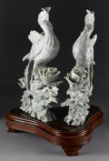 Asian:Chinese, PAIR OF CHINESE CARVED JADE/HARDSTONE GROUPS. Pair of Chinesecarved jade/hardstone openwork groups, each depicting a phoe...(Total: 3 )