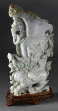 Asian:Chinese, CHINESE CARVED JADE/HARDSTONE VESSEL. Chinese carved jade/hardstonevessel, with chilongs and double loose ring handles, s... (Total: 2)